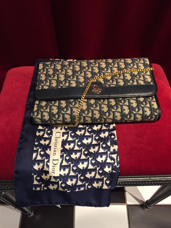Dior Vintage Väska Och Sjal